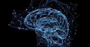 illustration of brain with surrounding digital matrix