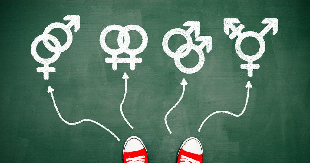 photo illustration of shoes choosing gender symbols