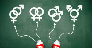 photo illustration of shoes choosing gender symbols