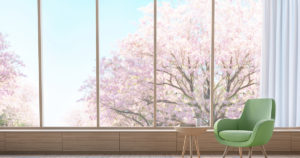 peaceful chair by window with cherry blossum trees