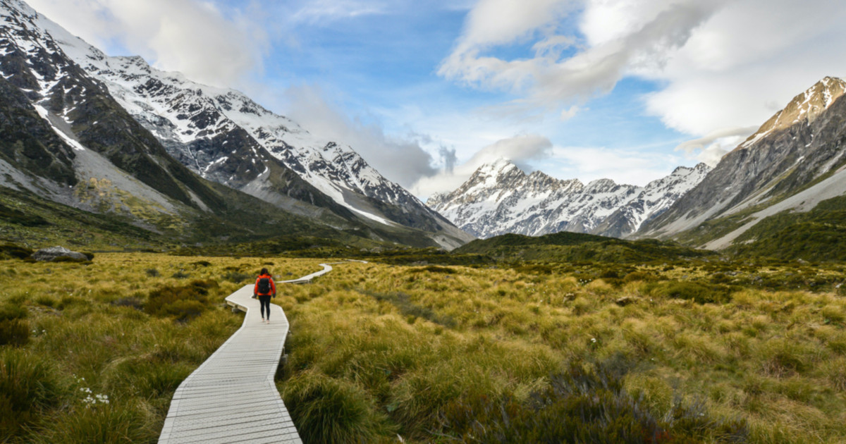 Woman backpacker walking on the wooden way to Mt Cook in New Zealand